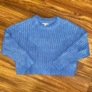 American Eagle   Soft and Cozy Cropped Knit Sweater   Blue   Womens